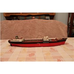 "TEXACO NORTH DAKOTA OIL BARREL BARGE - 28"" LONG - 4"" WIDE"