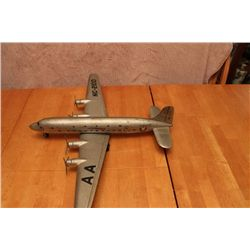 "PRESSED TIN AIRPLANE - AMERICAN FLAGSHIP - MADE IN AMERICA - 22"" X 27"" WINGSPAN"