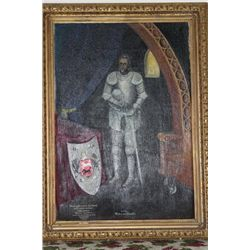 "2 VYTIS MOTIEJUS ORANTE KNIGHT IN ARMOR OIL ON CANVAS BY MATTHEW ORANTE -1939 - 60"" X 44"" - MINT"