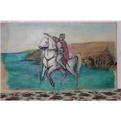 "OIL ON CANVAS BY MATTHEW ORANTE 60"" X 35.5"" UNFRAMED - LEADING THE CHARGE - MINT COND. - 1959"