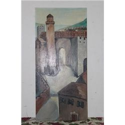 "OIL ON CANVAS BY MATTHEW ORANTE -1961 - 48"" X 22"" - VILNA LITHUANIA - 1316 A.D. - MINT"