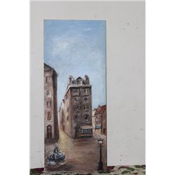 "OIL ON CANVAS MATTHEW ORANTE - 44"" X 18"" - 1961 - VILNA LITHUANIA 1316 A.D. - MINT"