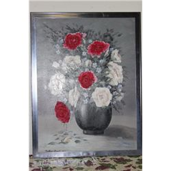 "ROSES OIL ON CANVAS BY MATTHEW ORANTE - 51"" X 39"" - 1997 - MINT"