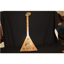 LITHUANIA 3 STRINGED INSTRUMENT HAND MADE BY ARTIST MATTHEW ORANTE - HIGHLY DECORATED SCENIC 31""
