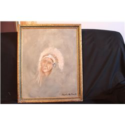 "NATIVE AMERICAN OIL ON BOARD BY MATTHEW ORANTE - 1998 - 20"" X 25"""