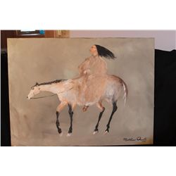 "NATIVE AMERICAN ON HORSE BACK - OIL ON CANVAS BY MATTHEW ORANTE - 1992 - 30"" X 40"""
