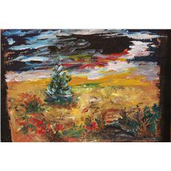 """OIL ON CARDBOARD BY MATTHEW ORANTE 2003 - 20"""" X 24"""" - BARNBOARD FRAME"""