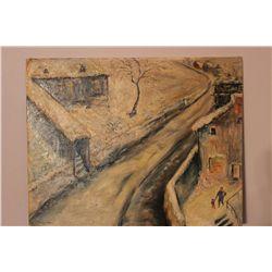 "OIL ON BOARD - AMSTERDAM SCENE - TITLE "" BELL HILL "" - AMSTERDAM N.Y. BY MATTHEW ORANTE 1957 - 16"" X"