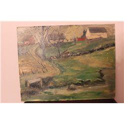 """OIL ON BOARD LANDSCAPE 14"""" X 18"""" BY MATTHEW ORANTE 1954"""