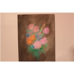 """FLORAL OIL ON CANVAS BY MATTHEW ORANTE 1993 - 24"""" X 18"""""""