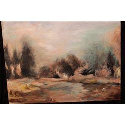 """LANDSCAPE OIL ON BOARD BY MATTHEW ORANTE - 1992 - 18"""" X 24"""""""