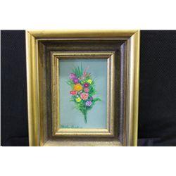 """FLOWERS - OIL ON BOARD BY ARTIST MATTHEW ORANTE 1993 - 5"""" X 7"""""""