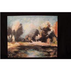 """LANDSCAPE OIL ON BOARD BY MATTHEW ORANTE - 1992 - 20"""" X 24"""""""