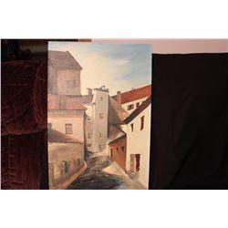 """TITLE """"KAUNAS LITHUANIA 1236 A.D."""" - OIL ON BOARD  BY MATTHEW ORANTE 1987 - 20"""" X 30"""""""