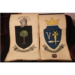 """2 COAT OF ARMS PAINTING BY MATTHEW ORANTE - 20.5"""" X 44"""" - 1956 - VYTA UTAS & DAILIDE - SOLD 2 FOR 1"""