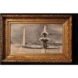GREAT OIL ON CANVAS BY MATTHEW ORANTE 1958 WATER FOUNTAIN - FANTASTIC DEEP GOLD GILTED FRAME - OIL 2
