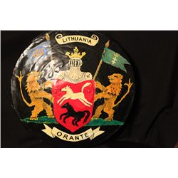"""LITHUANIA COAT OF ARMS BY MATTHEW ORANTE PAINTED OIL ON METAL - 18"""" X 18"""""""