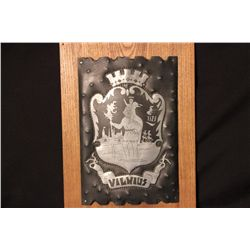 """COAT OF ARMS OF THE CITY OF VILNIUS MADE BY ARTIST DAVAINU - 1970 FOR MATTHEW ORANTE - 13"""" X 9.5"""""""