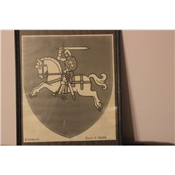 """LITHUANIA COAT OF ARMS BY MATTHEW ORANTE 12"""" X 10"""" - 1940"""