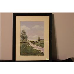 """WATER COLOR BY AMSTERDAM ARTIST A. FINLAY 1970 - FRIEND OF MATTHEW ORANTE - RURAL LITHUANIA - 11"""" X"""