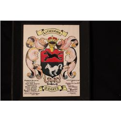 """ARMS OF ORANTE RESEARCHED IN 1950 BY MATTHEW ORANTE - PAINTED IN 1952 - 12"""" X 10"""""""