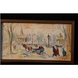 """ORIGINAL WATER COLOR TITELD """"EARLY CHRISTMAS MASS IN LITHUANIA"""" - ARTIST VITTY A. MATTUS -1 995 - 15"""