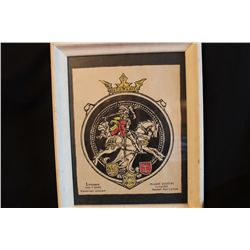 """INK DRAWING - LITHUANIA COAT OF ARMS - GRAND SEAL BY ARTIST MATTHEW ORANTE - 1975 - 18.5"""" X 15"""""""