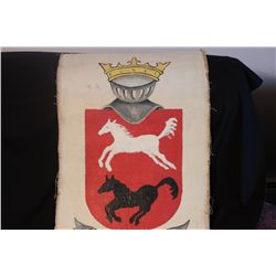 """OIL ON CANVAS 42"""" X 21"""" ORANTE COAT OF ARMS"""