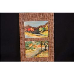 """3 LANDSCAPE OILS BY MATTHEW ORANTE OF LITHUANIA - 3.75"""" X 3"""" ON LITHUANIA PLYWOOD - 1974"""