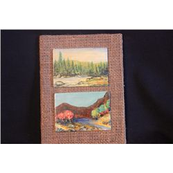 """2 OILS ON LITHUANIA PLYWOOD 3.75"""" X 3"""" LANDSCAPES - MATTHEW ORANTE - 1981"""