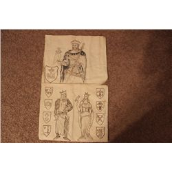 """2 DRAWINGS ON CANVAS BAGS MATTHEW ORANTE 1982 - 18.5"""" X 15.5"""" - MOST UNUSUAL"""