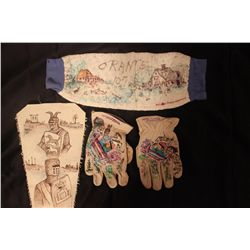PAIR OF LEATHER GLOVES, HAND WARMER & WALL HANGING CANVAS - ALL 1 MONEY - OILS BY MATTHEW ORANTE