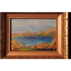 """FRAMED ACRYLIC ON CANVAS BOARD BY MATTHEW ORANTE TITLED """"AUTUMN POND 2"""" - 1992 - 10.25"""" X 8.25"""""""