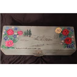 """PAINTED DECORATED WOODEN BOX BY MATTHEW ORANTE - 1964 - 24"""" X 8"""""""