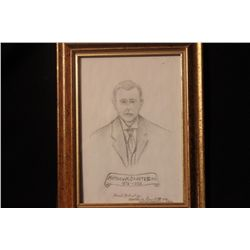 PENCIL DRAWING OF MATTHEW'S FATHER DATED 1970 - DONE BY MATTHEW ORANTE IV