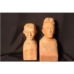2 CARVED WOOD BUSTS BY MATTHEW ORANTE - 1976