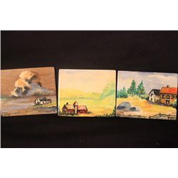 """3 - 3.5"""" X 3"""" OILS ON  LITHUANIAN PLYWOOD - COUNTRY SCENES BY MATTHEW ORANTE"""