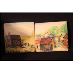 2 OIL ON BOARDS BY MATTHEW ORANTE - LITHUANIA VILLAGES ON LITHUANIAN PLYWOOD
