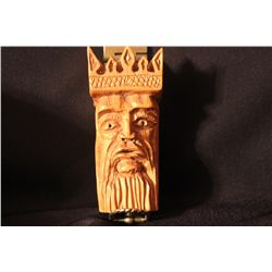 HEAVILY CARVED LITHUANIAN KING - WOOD - 1978 BY MATTHEW ORANTE - MINT