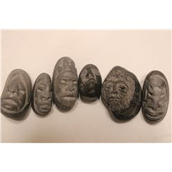 6 SMALL CARVED STONE SCULPTURES BY MATTHEW ORANTE - 1 MONEY