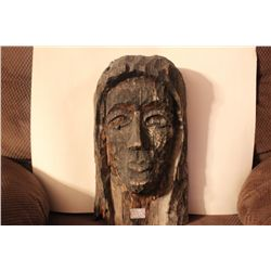"""CARVED LADY'S FACE 1968 BY MATTHEW ORANTE 16"""" X 9.5"""""""