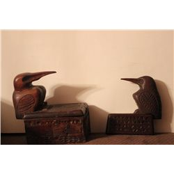 2 CARVED WOODEN BOXES BY MATTHEW ORANTE - 1 DATED 1935