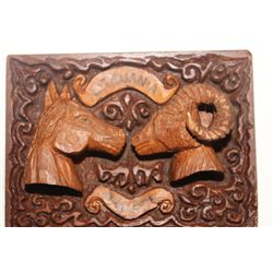 HORSE HEAD  & RAM HEAD VERY ORNATE MENT AS BELT BUCKLE