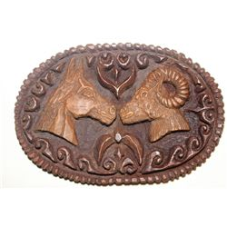 OVAL BELT BUCKLE - HORSE & RAMS HEAD BY MATTHEW ORANTE
