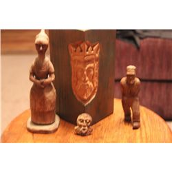 LAST CHANCE FOR WOODCARVINGS BY MATTHEW ORANTE - FOUR PIECES TOTAL - TALL LADY CARVED IN 1941