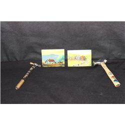 2 OIL ON WOOD & 2 PAINTED HAMMERS - BY MATTHEW ORANTE - 1981