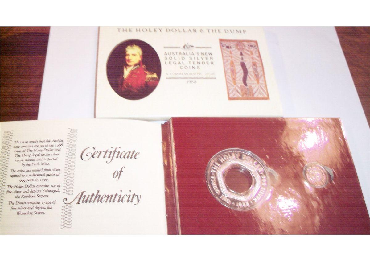 1988 HOLEY DOLLAR /& DUMP Silver Coin Set 1.25oz Silver