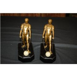 PAIR ATLAS BOOKENDS METAL & MARBLE
