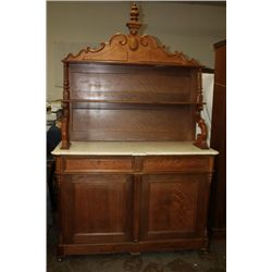 MARBLE TOP SIDEBOARD WALNUT