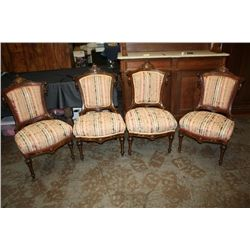 SET OF 4 VICTORIAN CHAIRS WALNUT - 1 MONEY